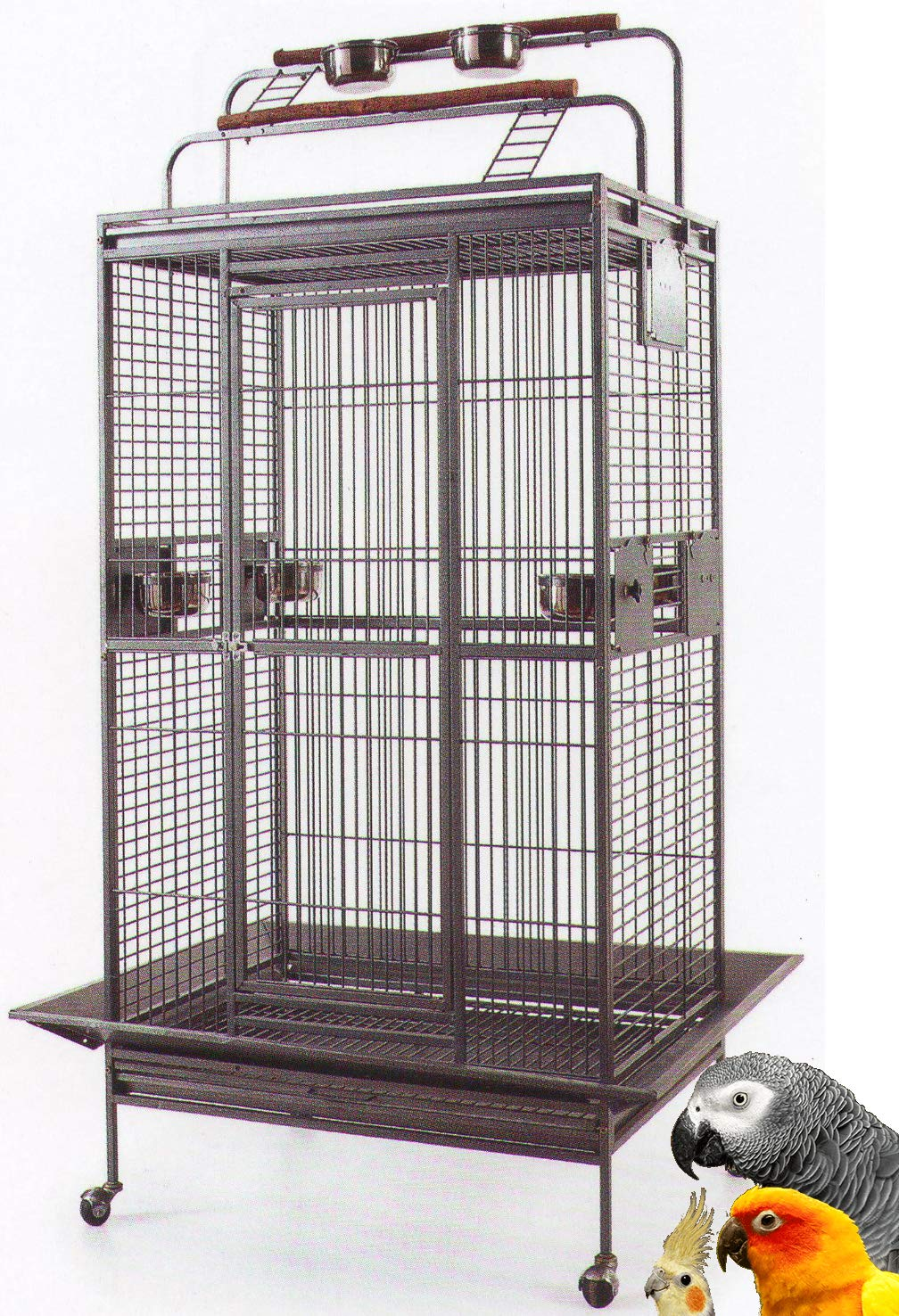 Mcage Large Wrought Iron Bird Parrot Cage Double Ladders Open/Close Play Top, Include Seed Guard and Play Top (Black Vein) by Mcage