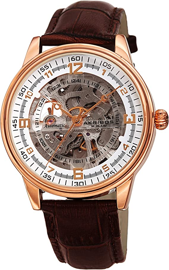 Akribos Skeleton Automatic Mechanical Men's Watch – Crocodile Embossed Genuine Leather Strap – Wristwatch See Through Dial -Great for Father's Day - AK1073