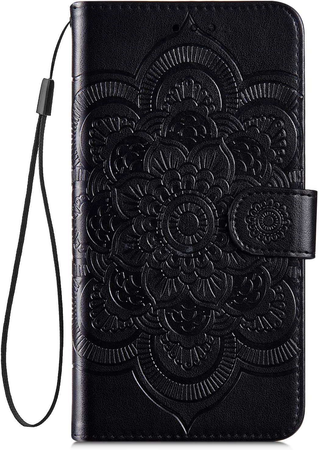 IKASEFU Compatible with iphone 11 Case Emboss Sun mandala Floral Pu Leather Wallet Strap Case Card Slots Shockproof Magnetic Stand Feature Folio Flip Book Cover Protective Case,Black