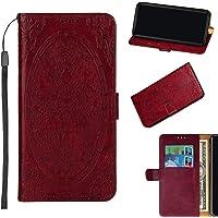 BONROY étui Folio en Cuir pour Huawei Honor 9 Lite, Cover Coque TPU Porte Cartes avec Support Protection intégrale - (TX-Tengtu Long Rouge)