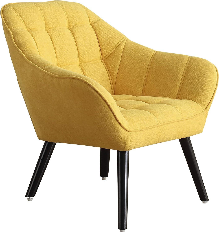 Adec - Olden, Sofa Individual de una Plaza, Sillon Descanso una 1 Persona, butaca acabada en Tejido Color Mostaza, Patas de Madera Color Negro, Medidas: 83 cm (Largo) x 75 cm (Ancho) x 77 cm (Alto)