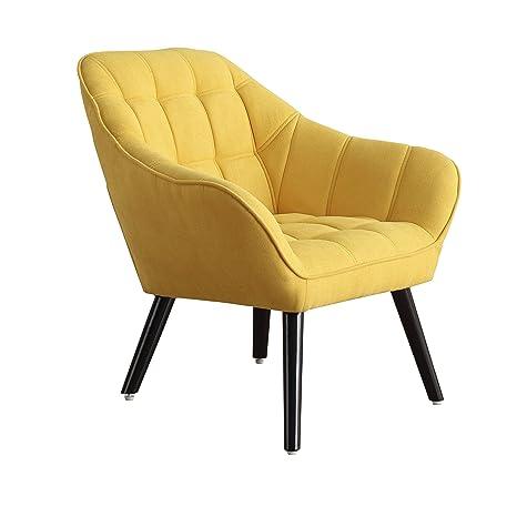 Adec - Olden, Sofa Individual de una Plaza, Sillon Descanso una 1 Persona, butaca acabada en Tejido Color Mostaza, Patas de Madera Color Negro, ...