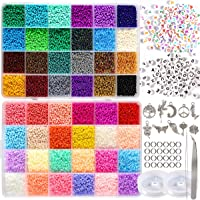 35000pcs 2mm 12/0 Glass Seed Beads for Jewellery Making Supplies Kit Small Bead Craft Set Bracelets Necklace Ring Making…