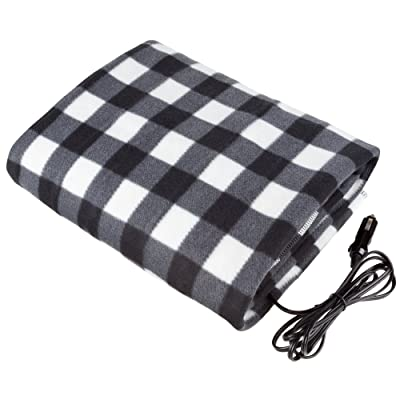 Stalwart - Electric Car Blanket- Heated 12 Volt Fleece Travel Throw for Car and RV-Great for Cold Weather, Tailgating, and Emergency Kits by Stalwart-BLACK/WHITE: Automotive