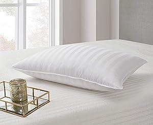 Blue Ridge Home Fashions 500 Thread Count Cotton Damask Siberian White Down Pillow, Jumbo, White