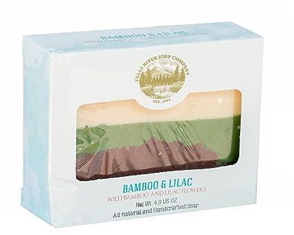 Pastilla de jabón de bambú y flor de lila (4Oz)- Orgánico y artesanal con aceites esenciales. Jabón corporal natural e hidratante para piel y cara.