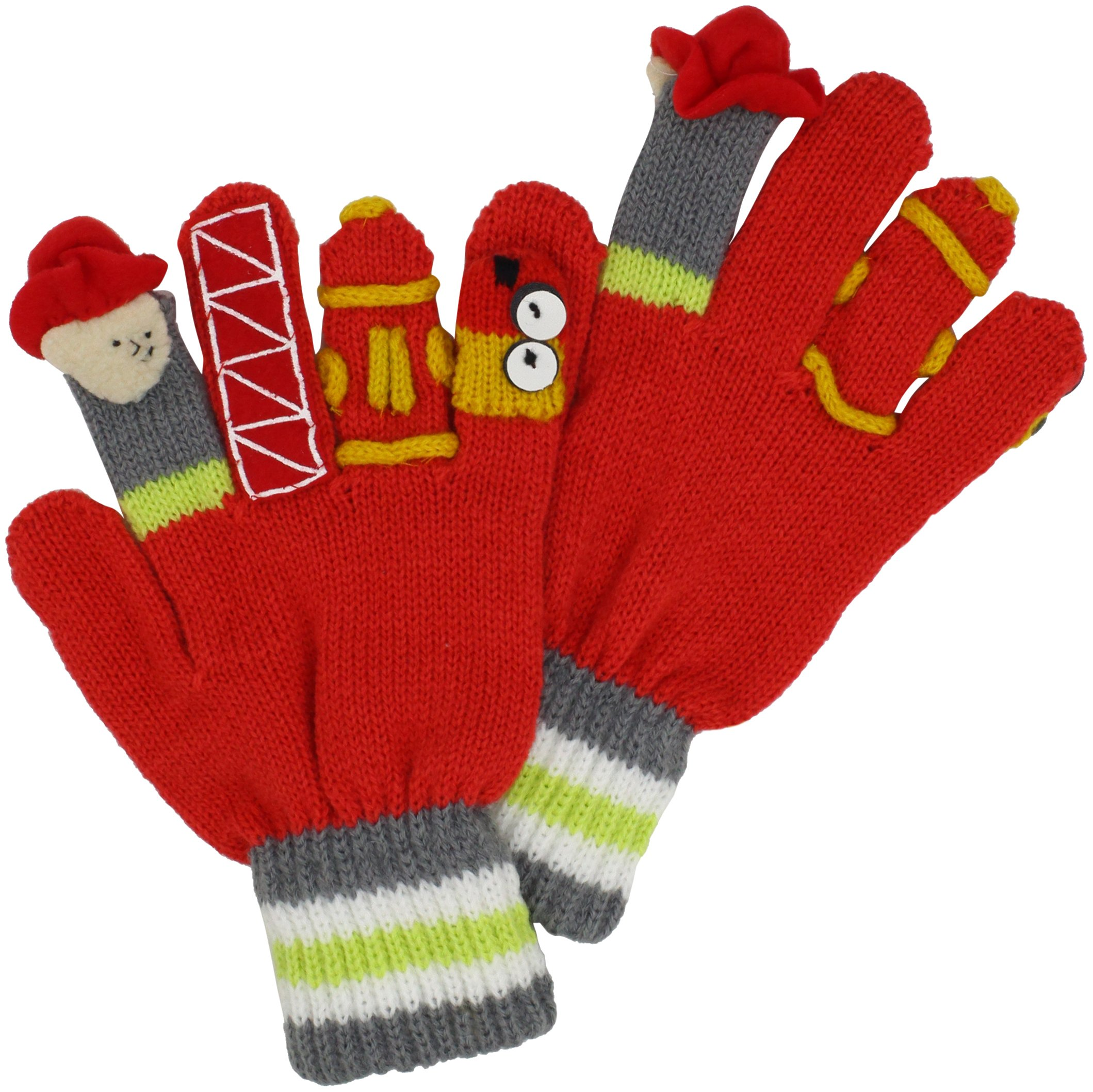 Kidorable Fireman Knit Kids Gloves, Big Kids Medium, Ages 6-8, Soft Red Acrylic Knit Winter Gloves, With Fire Fighter Finger Puppets