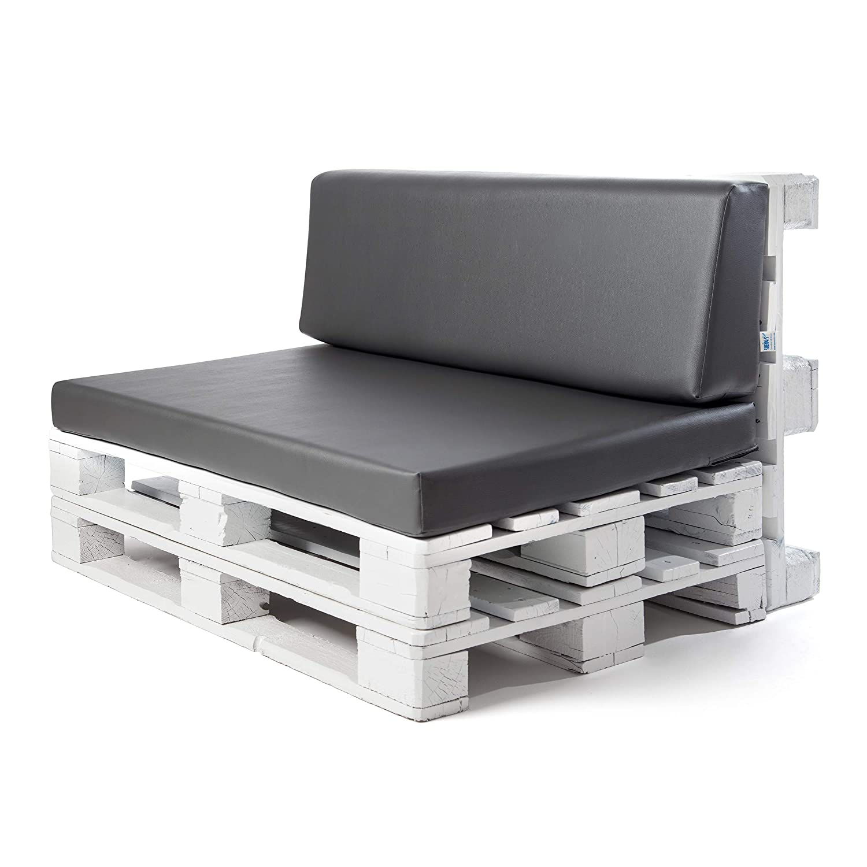 Conjunto colchoneta para sofas de palet y respaldo Gris Ceniza (1 x Unidad) Cojin relleno con espuma. | Cojines para chill out, interior y exterior, ...