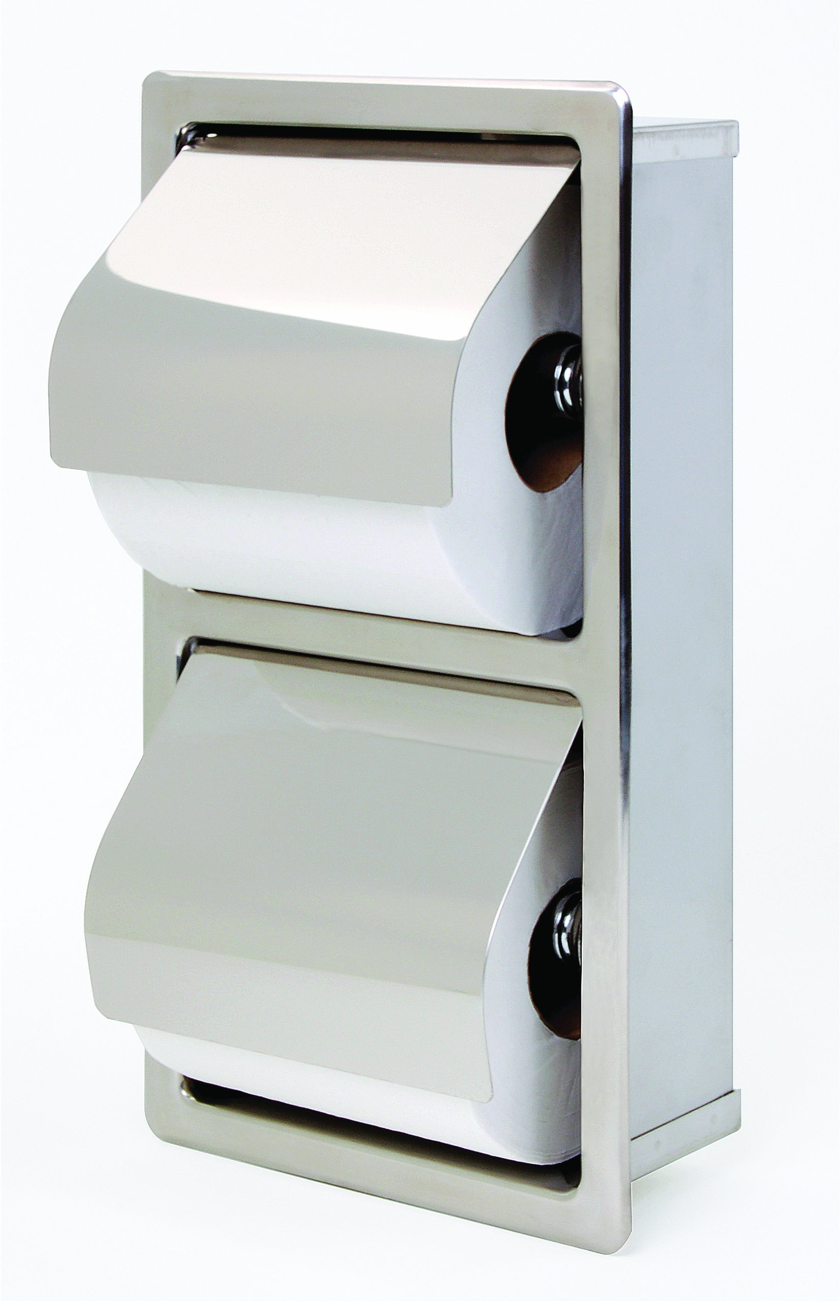 Bradley 5127-000000 Stainless Steel Recessed Mounted Hinged Hood Stacking Rolls Toilet Tissue Dispenser, 6-1/2'' Width x 12-1/4'' Height x 3'' Depth by Bradley