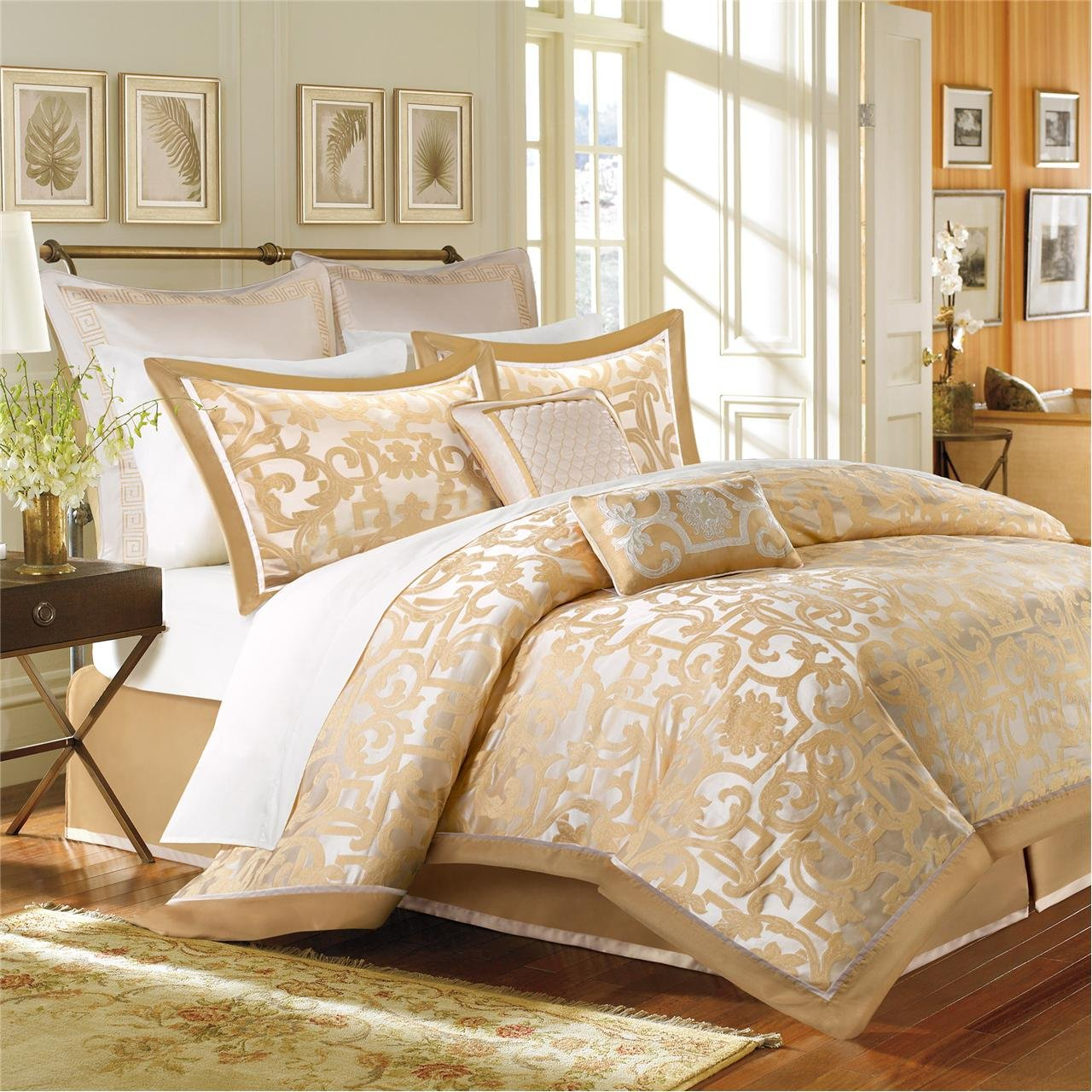 Madison Park Signature Castello 8 Piece Comforter Set Gold Queen