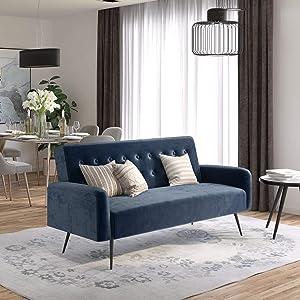 Novogratz Z Stevie, Convertible Sofa Bed & Couch, Blue Velvet Futon
