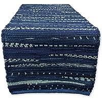 DII Everyday Machine Washable Chindi Rag Table Runner, 14 X 72, Nautical Blue