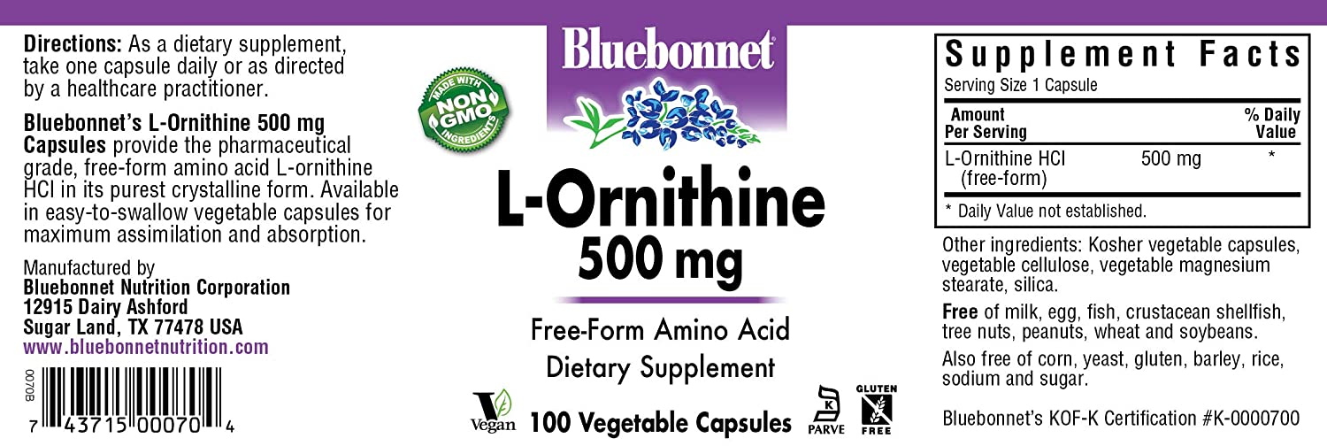 Bluebonnet L-Ornithine 500 mg Vitamin Capsules, 100 Count