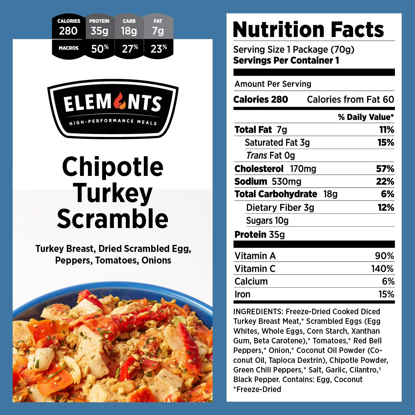 Elements Meals | Chipotle Turkey Scramble | 5-Pack | Healthy Freeze Dried Meals | Paleo-Friendly | Delicious, Backpacking and Camping Food | High Protein by Elements (Image #2)