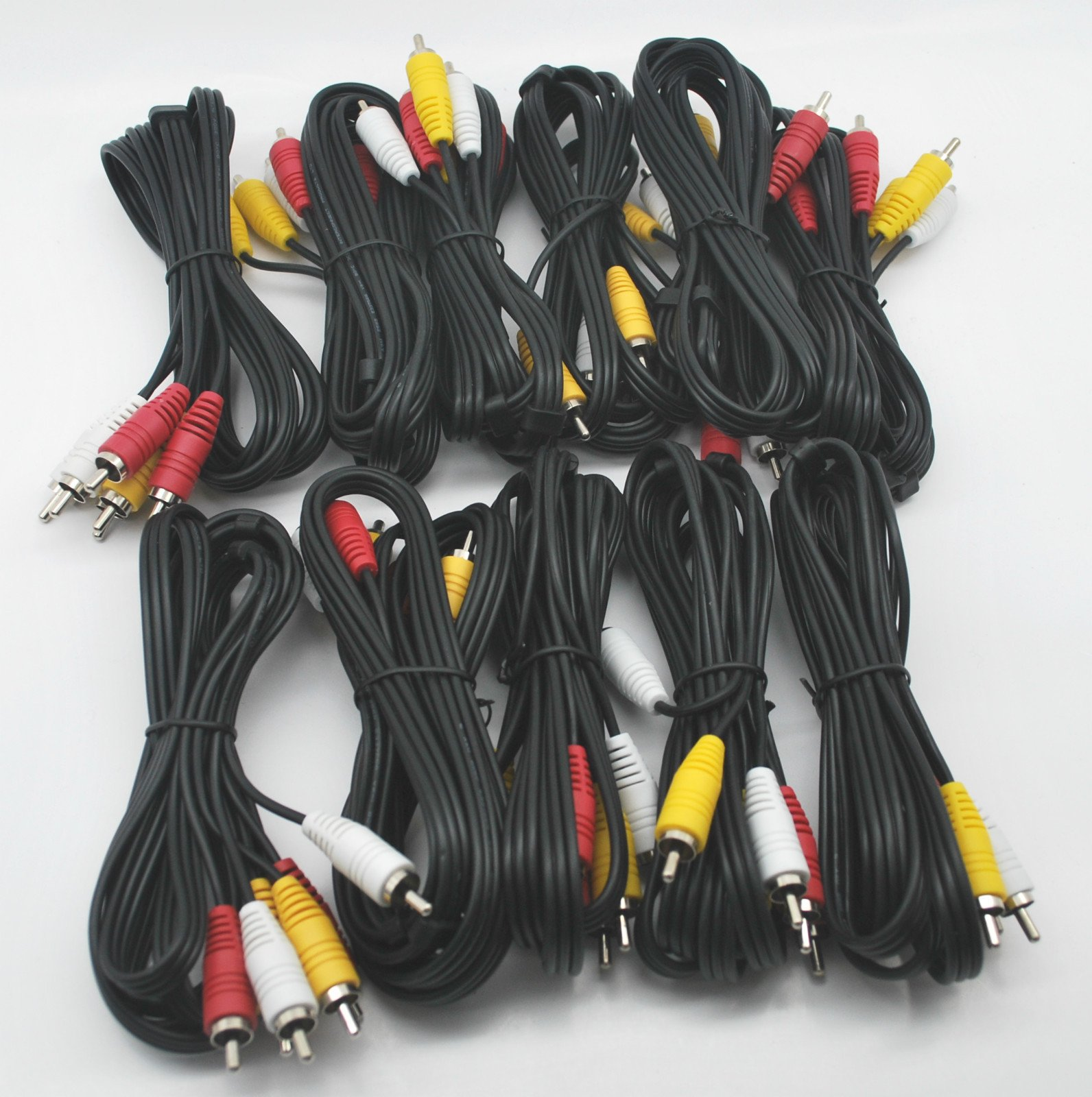LOT OF 10 NEW 6 Ft RCA AUDIO/VIDEO COMPOSITE CABLES DVD/VCR/SAT YELLOW RED & WHITE CONNECTORS by DIRECTV (Image #1)