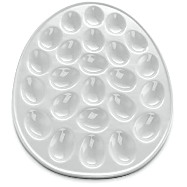 KooK Deviled Egg Dish, White Porcelain, 13 Inch, Holds 24 Eggs.