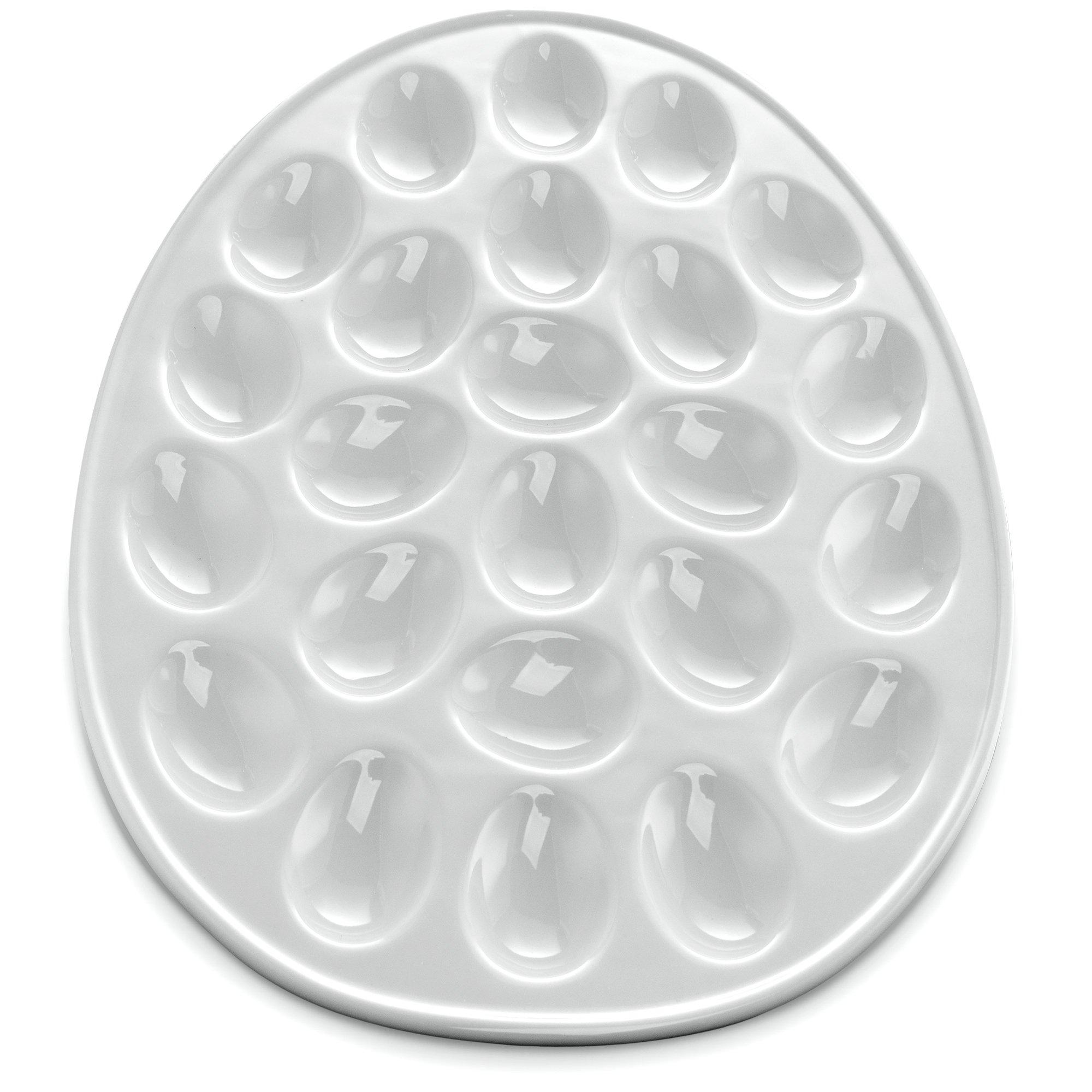 KooK Deviled Egg Dish, White Porcelain, 13 Inch, Holds 24 Eggs.