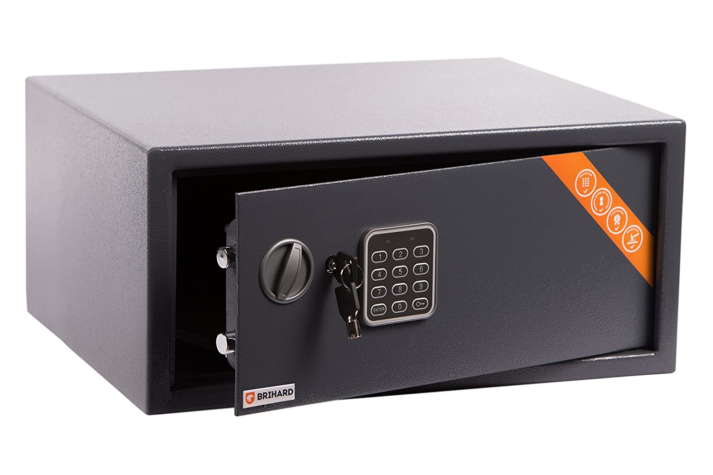 Brihard Junior Cassaforte Elettronica, 17x23x17cm (HxWxD), Grigio Titanio