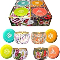 T&H Big Aromatherapy Scented Candles Essential Oils Natural Soy Wax Portable Travel Tin Candle Set Of 4 6 Ounce Tins…