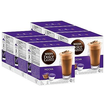 Nescafé Dolce Gusto Mocha, Mokka, Schokolade, Kaffee, Kaffeekapsel, 6er Pack, 6 x 16 Kapseln (48 Portionen)