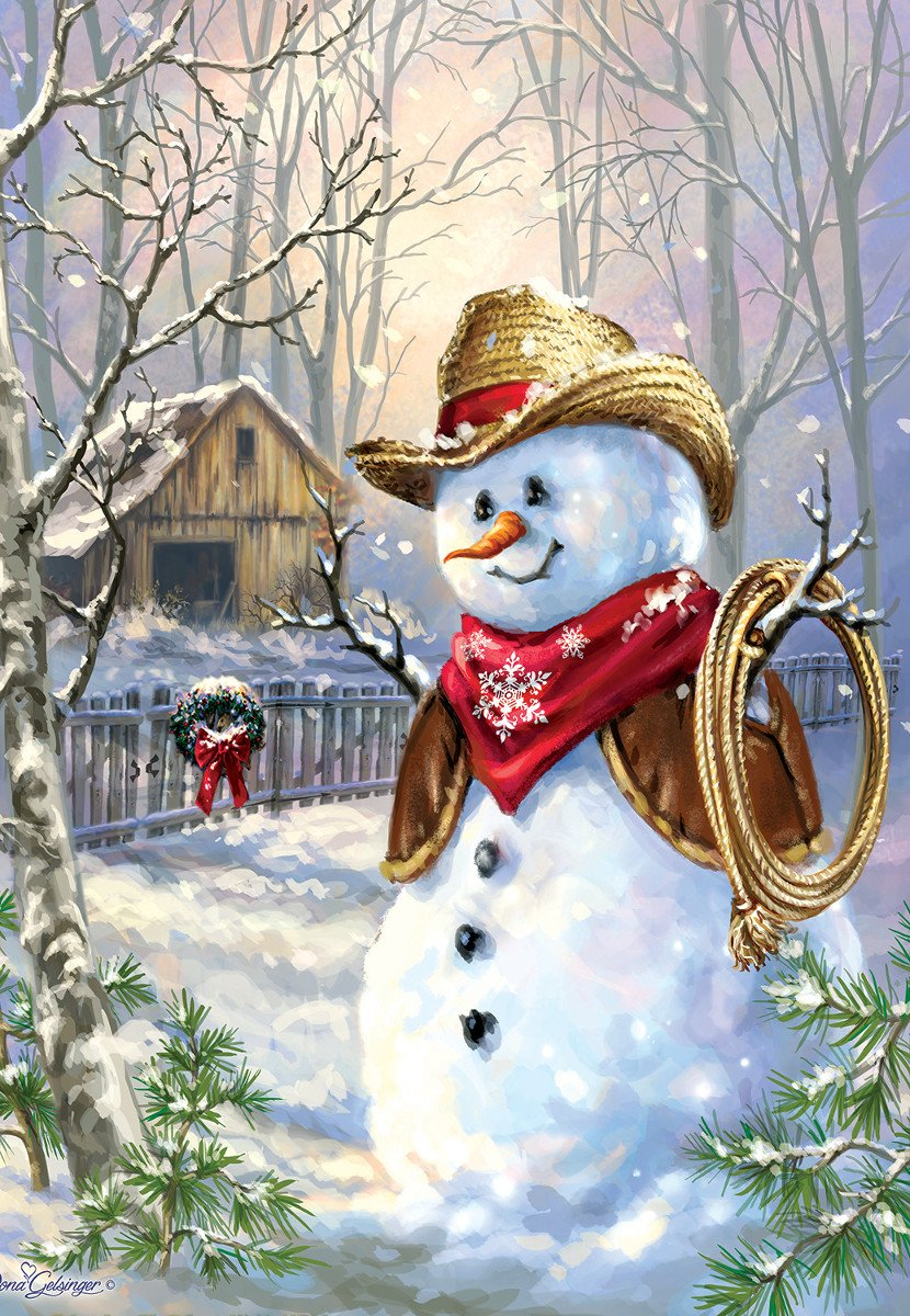Cowboy in the Snow 100 Piece Jigsaw Puzzle by SunsOut - Christmas Snowman Cowboy