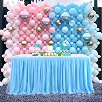 CO-AVE 6FT Baby Blue Table Skirt Tulle Table Skirting for Round or Rectangle Tables Dessert for Baby Shower Birthday Wedding Party Decorate(L72inch, H30inch)