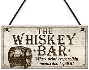 Vintage Whisky Bar Plaque Hanging Rustic Sign Home Bar Pub Man Cave Birthday Gift for Him