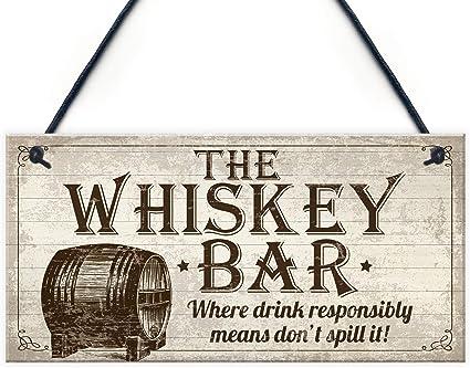 Retro Metal Plaque//Sign Bar Man Cave, Black /& White Scotch Whiskey Pub