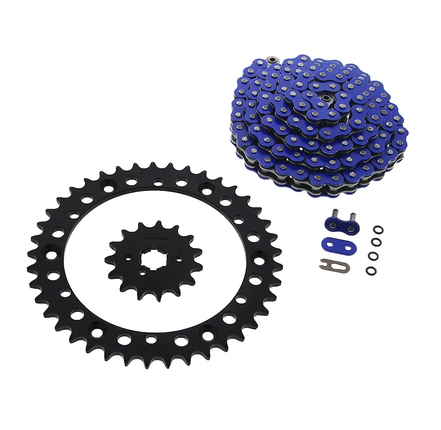 01-2004 Yamaha YFM350 350 Warrior Blue O-Ring Chain /& Black Sprocket 15//41 102L
