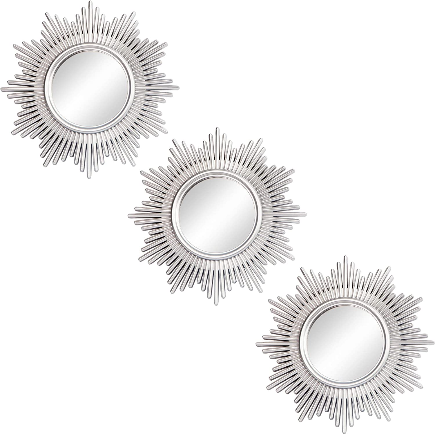 Small Round Decor Wall Mirrors Set of 3 Home Accessories for Bedroom, Living Room & Dinning Room (MS013)