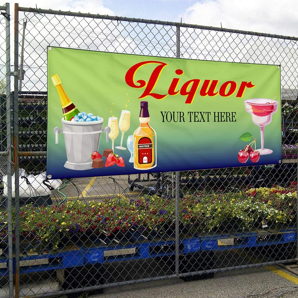 Custom Industrial Vinyl Banner Multiple Sizes Liquor Style D Personalized Text Here Funny and Novelty Outdoor Weatherproof Yard Signs Green 10 Grommets 60x120Inches
