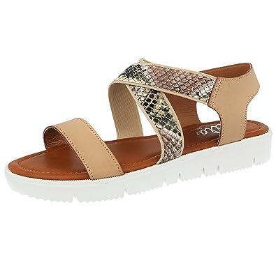 8369db279cdb Ladies ELLA Elouise Animal Print Slingback Flat Summer Fashion Sandals Size  3-8 (4