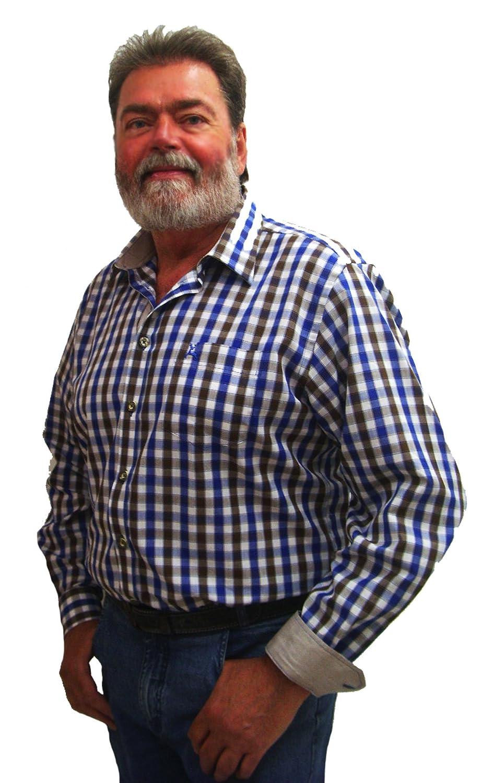 Herren Trachtenhemd blau braun weiß kariertes Herrenhemd Elias