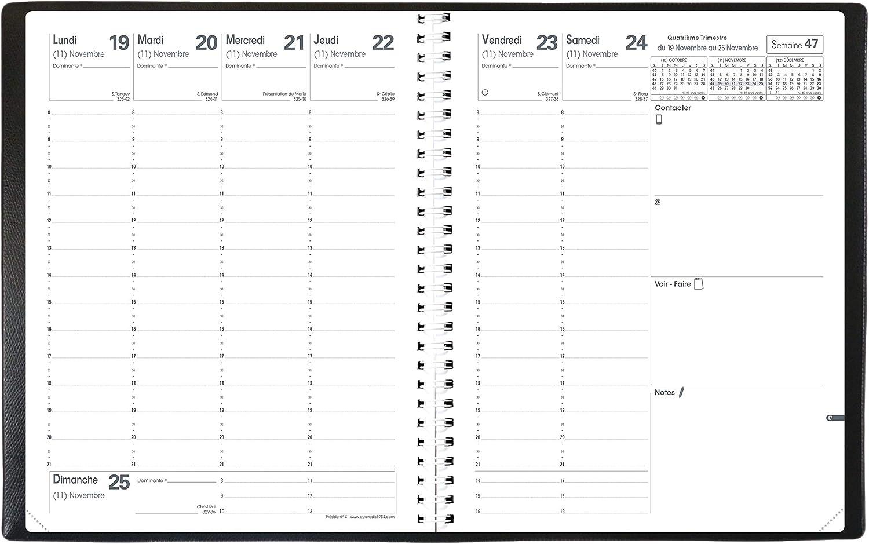 Temps illimit/é QUO VADIS 1 Agenda Semainier Pr/ésident spiral/é BEN Septembre 2020 /à Ao/ût 2021-21x27 cm