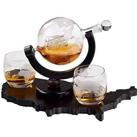 Whiskey Decanter Set World Etched Globe