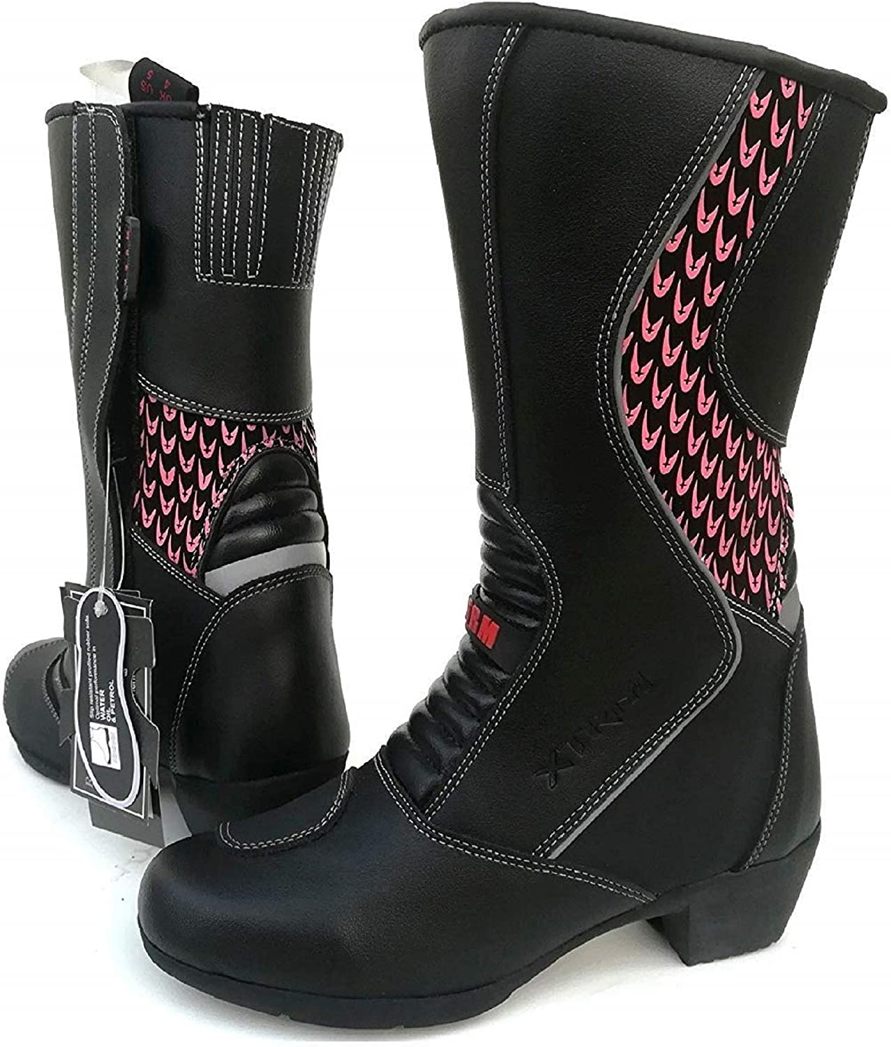 XTRM Motorbike Ladies Boots 601 Womens Motorcycle Touring Riding Long Boots With Heel Black