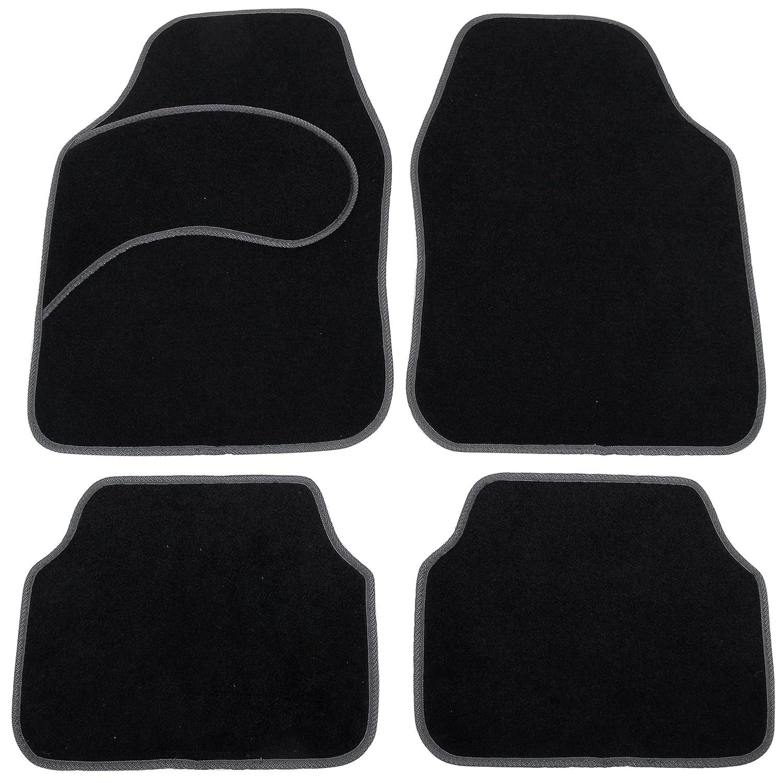 eSituro Alfombrillas para Coche Universal Alfombras Moqueta para Automovil Antideslizantes Impermeable 4 Piezas Alfombra Negro//Gris SCM0079