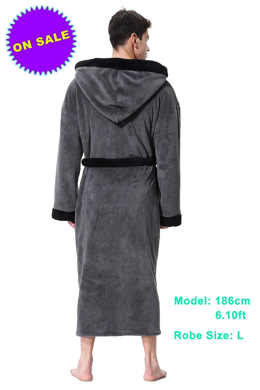 Mens Hooded Bathrobe in 2 Colored Soft Spa Kimono Shawl Collar Hooded Long Robe Unisex