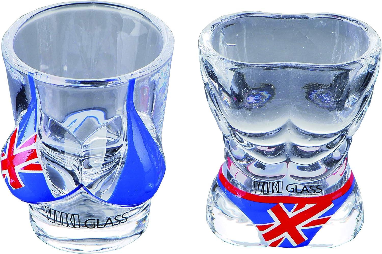 Viki-Glass - Vasos de chupito (2 en 1, diseño de la Bandera ...