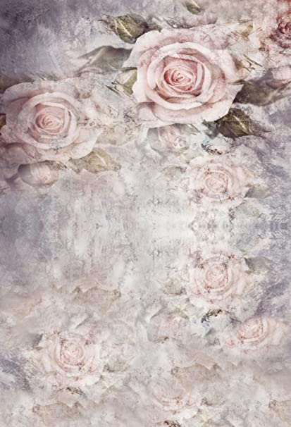 Amazoncom Pink Rose Flowers Photo Backdrops Vintage Grey Wall
