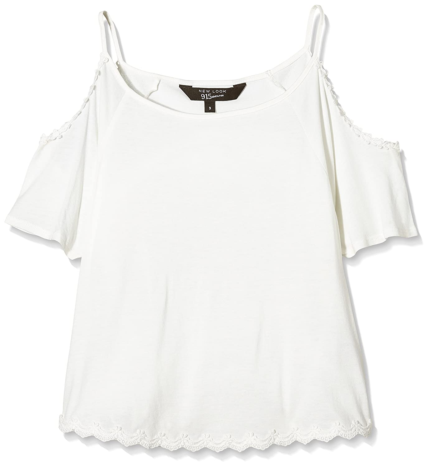 82b4273d7b1 New Look 915 Girl's Crochet Trim Loose Cold Shoulder Top, Off-White (Cream  Patterned), 9 Years: Amazon.co.uk: Clothing