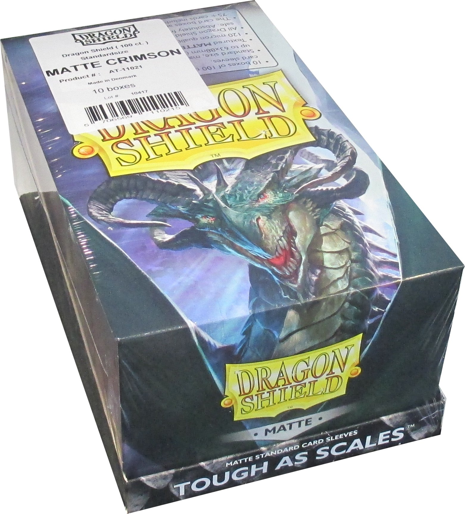 Dragon Shield Matte Crimson Standard Size Card Sleeves Display Box [10 Packs]