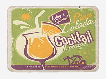 910dae3692 Lunarable Summer Bath Mat, Spanish Pina Colada Cocktail Poster Theme Palm  Trees and Exotic Houses