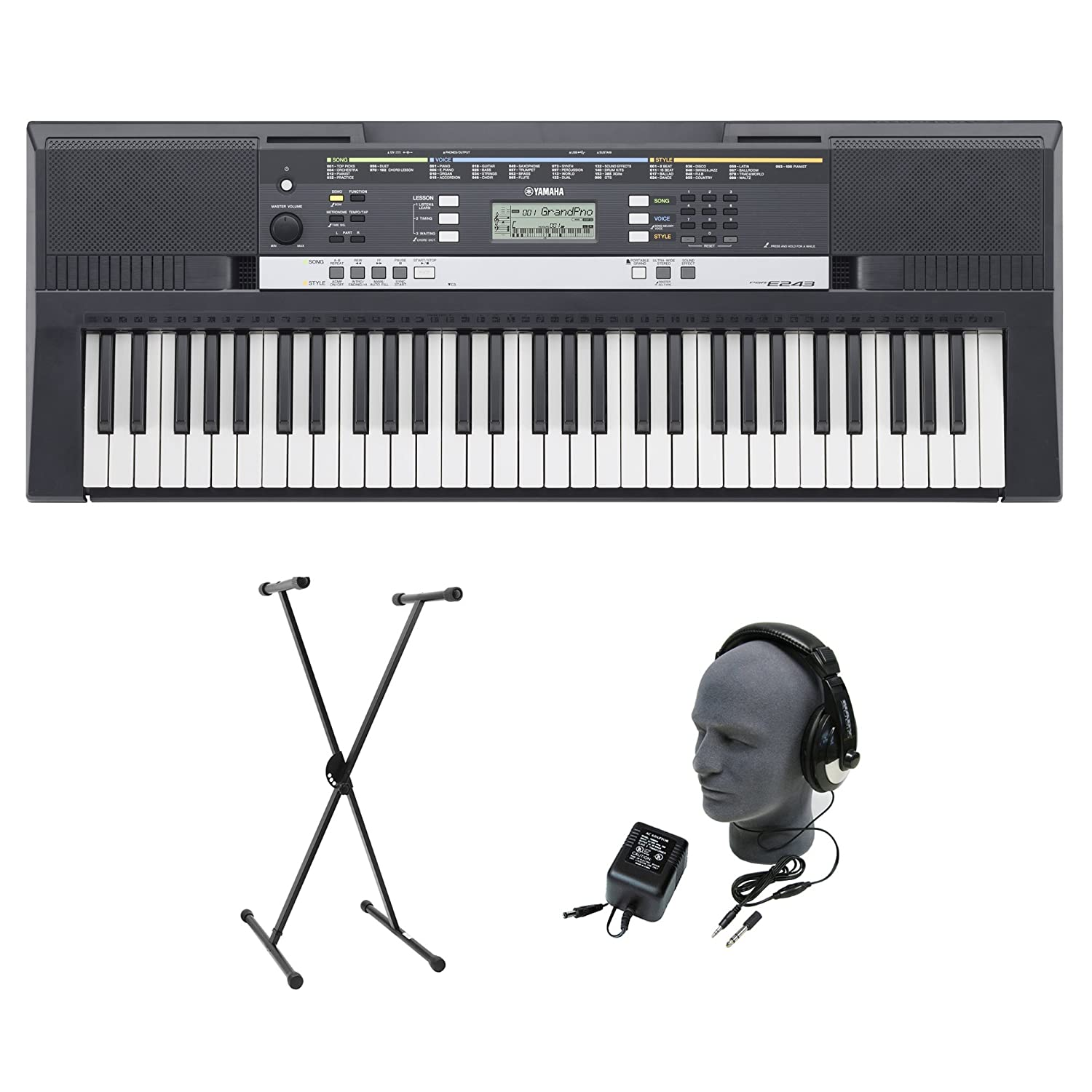 yamaha psr e243 premium portable keyboard package with