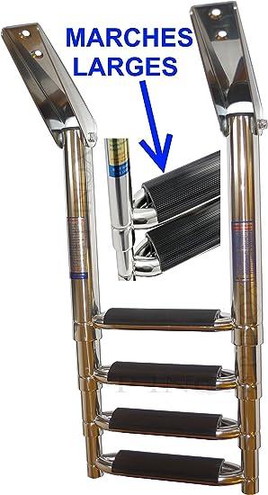 Escalera telescópica Acero Inoxidable 316 Barco 4 peldaños (peldaños Extra Anchos para Plataforma INOX 316 – A4: Amazon.es: Deportes y aire libre