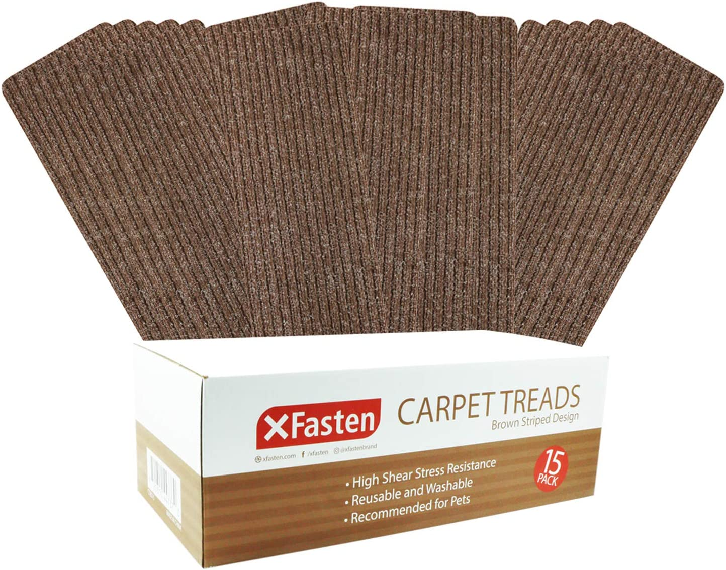 XFasten Nonslip Carpet Stair Step Treads for Wooden Stairs, Brown, Stripes Design- Set of 15- Indoor Stair Rug Runners with Nonskid Silicone Base, Washable and Easy to Vacuum