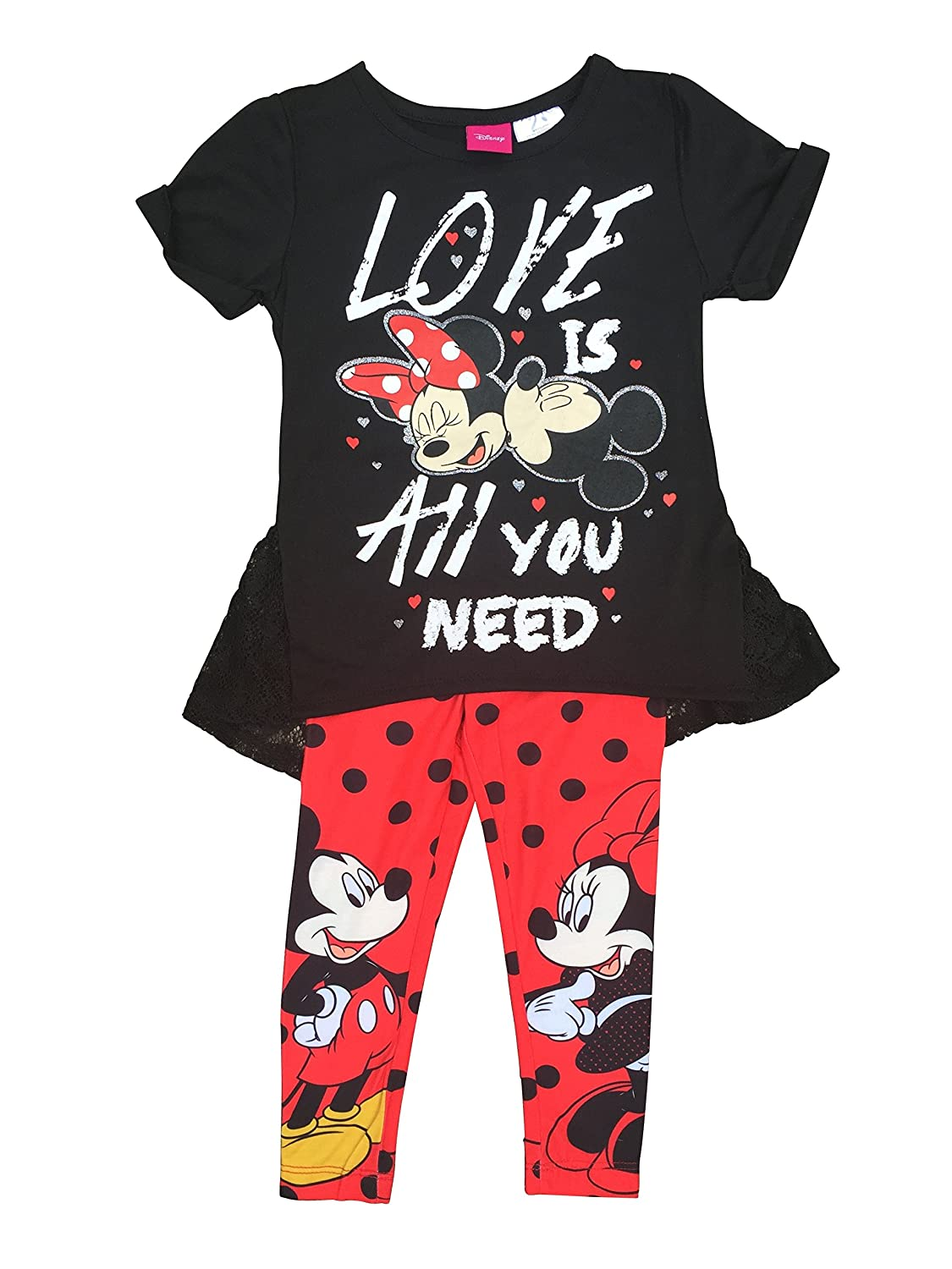 Girls Mickey /& Minnie Mouse All You Need is Love Tunic /& Leggings Set Size 6X