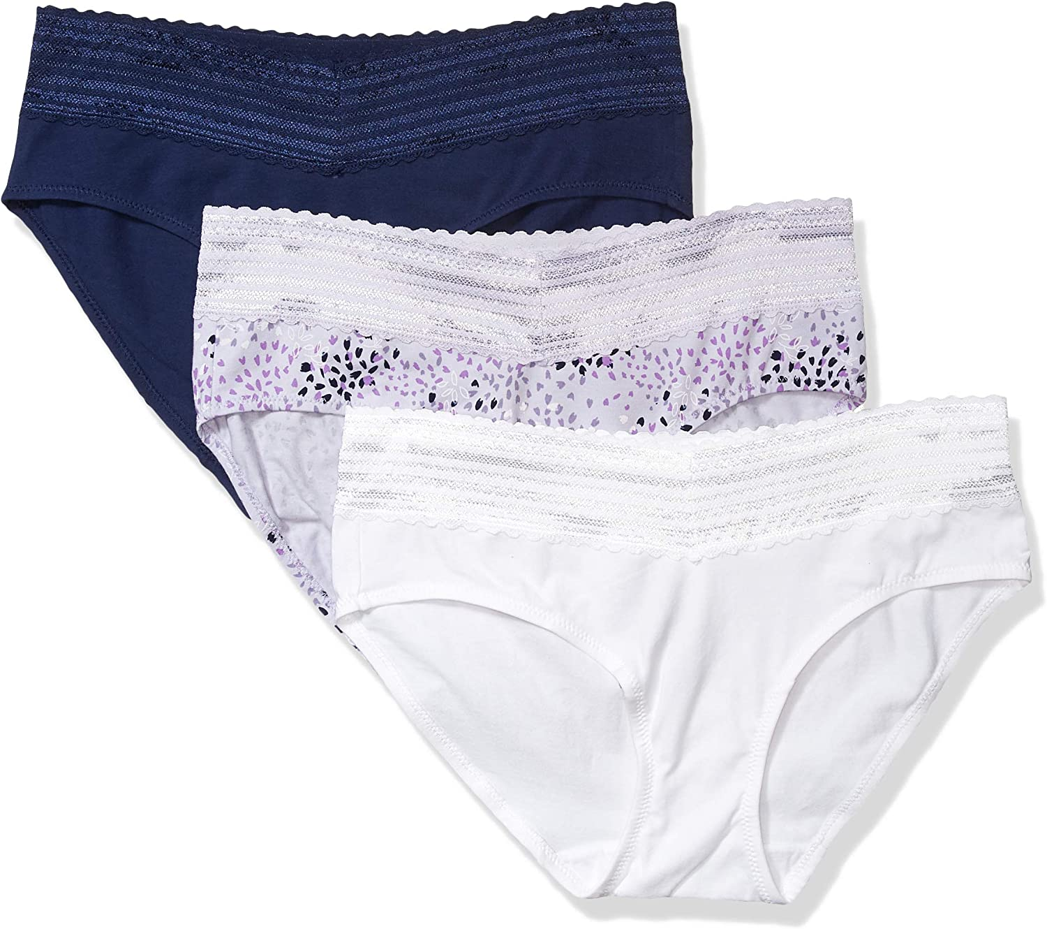 Warners Womens No Pinching No Problems 3 Pack Cotton Hipster with Lace Panties