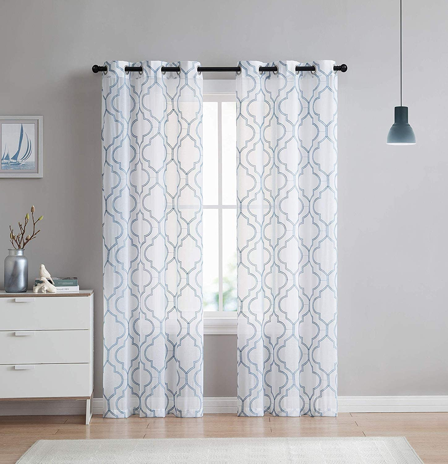 VCNY Home 2 Pack Charlotte Embroidered Quatrefoil Trellis Semi Sheer Curtain Panels - Assorted Colors & Sizes (84 in. Length, Blue)