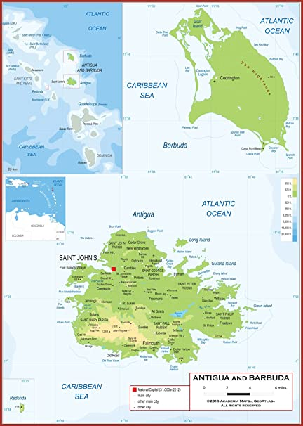 Amazon.com : Academia Maps - Wall Map of Antigua and Barbuda - Fully ...